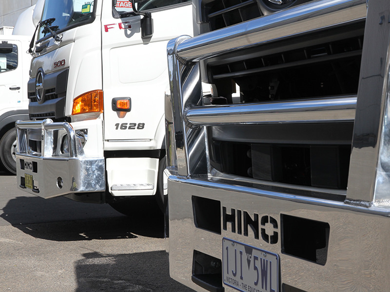 Handy for regional roles where furry grasshoppers abound, stylish bullbars have been designed specifically for Hino's latest 500-series wide-cab range